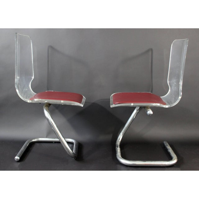 1970s Mid-Century Modern Set of Four Lucite Dining Chairs by Luigi Bardini for Hill For Sale - Image 5 of 10