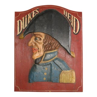 Antique English Dukes Head Pub Sign For Sale