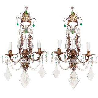 Unusual Pair of Gilt Metal and Crystal Sconces For Sale