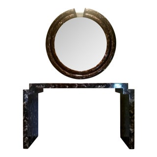 Mid- Century Modern Style Bone Console & Mirror in the Style of Karl Springer - a Pair