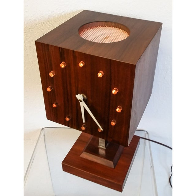 Mid Century Nelson Style Walnut Table Clock For Sale - Image 7 of 7