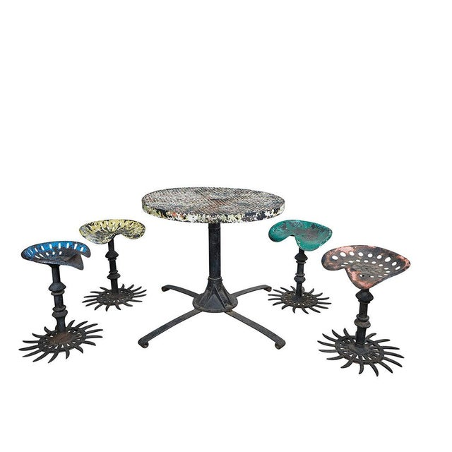 Folk Art Table and Stool Set For Sale - Image 10 of 10