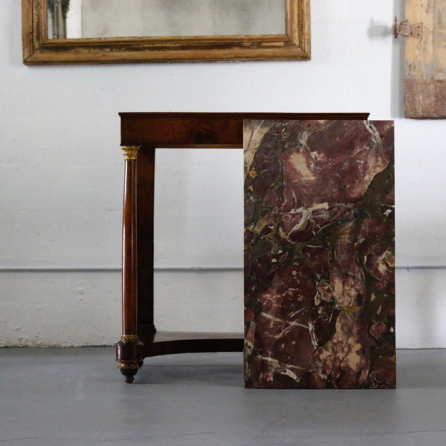 19th Century Italian Console, Burl Walnut wood with original marble top. Sophisticated stature with a classicly modern top.