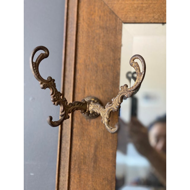 19th Century Oak Mirror With Hats Hooks For Sale - Image 4 of 10