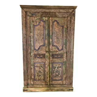 Antique Rustic Large Wood Armoire