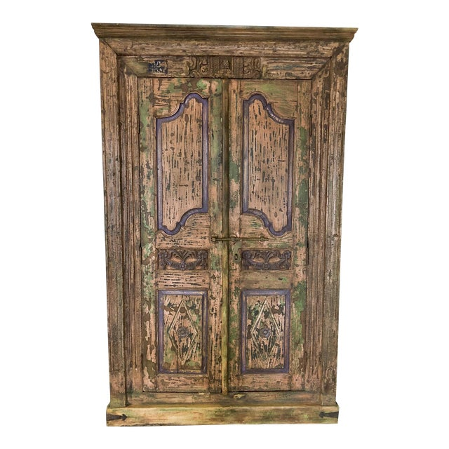 Antique Rustic Large Wood Armoire - Image 1 of 6