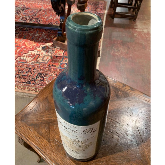 Tall Vintage French Trompe l'Oeil Ceramic Methuselah Wine Bottle of Bordeaux For Sale In Dallas - Image 6 of 12