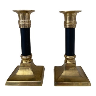 Vintage 1950s Brass and Black Candlesticks - a Pair For Sale
