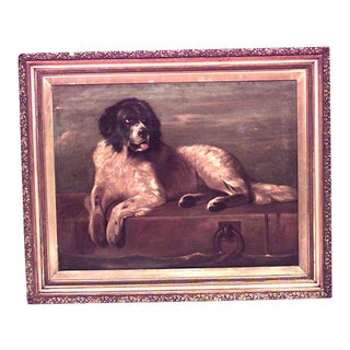 Reclining Dog Oil Painting For Sale