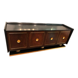 Black, Gold, and Walnut Credenza For Sale