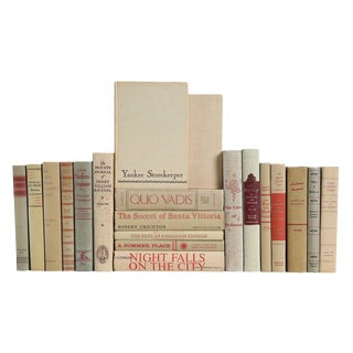 Mid Century Neutral Mixed Rose Accented Books - Set of 20 For Sale