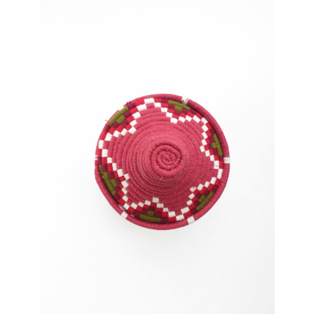 Boho Chic 'Strawberry Field' Moroccan Woven Bread Basket For Sale - Image 3 of 3