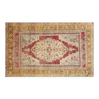 1960s Turkish Anatolium Yellow/Red Area Rug-7'2'' X 11'4'' For Sale