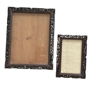 Antique Chinese Carved Wooden Frames- Set of 2 For Sale