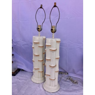 Vintage Faux Bamboo Lamps - A Pair Preview
