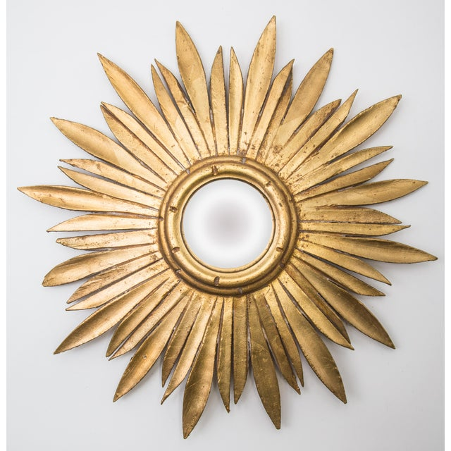 Wood Mid Century French Giltwood Sunburst Convex Mirror For Sale - Image 7 of 7