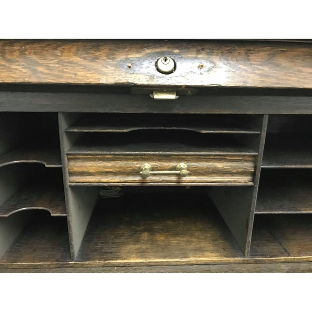 Traditional Vintage Traditional Roll Top Writing Table/Secretary Desk For Sale - Image 3 of 7