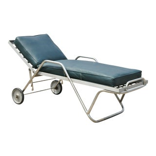 Vintage Art Deco Stainless Steel Tubular Adjustable Chaise Lounge Chair For Sale