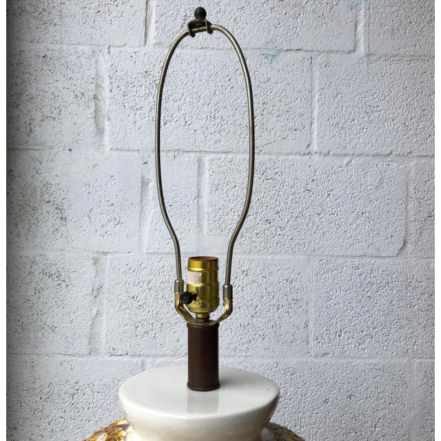 1960s Beautiful Vintage Mid Century Modern Large Drip Glaze Table Lamp For Sale - Image 5 of 8