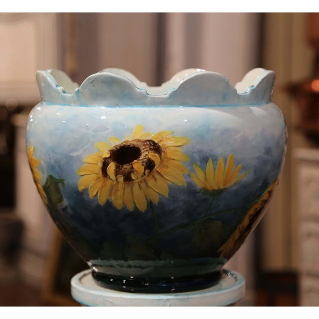 19th Century French Hand Painted Ceramic Planter and Stand Signed D. Massier For Sale - Image 9 of 13