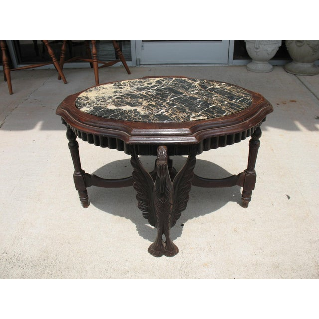 Art Deco Carved Marble Coffee Table - Image 2 of 6