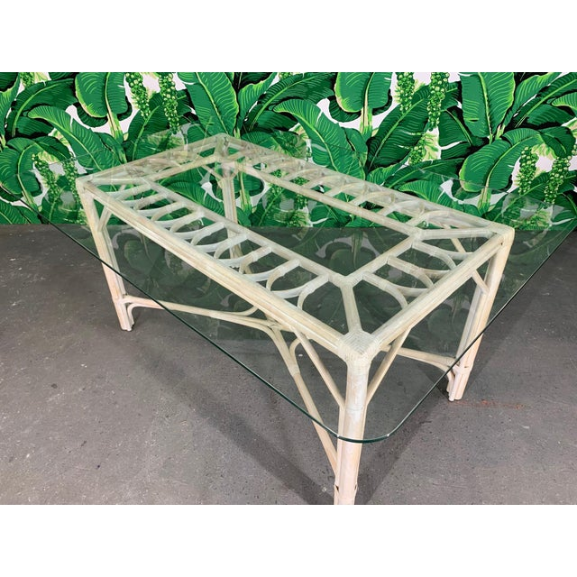 Mid-Century Modern Rattan Glass Top Dining Table For Sale - Image 3 of 6
