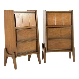 1960s Mid-Century Modern United Walnut Tall Nightstands - a Pair For Sale