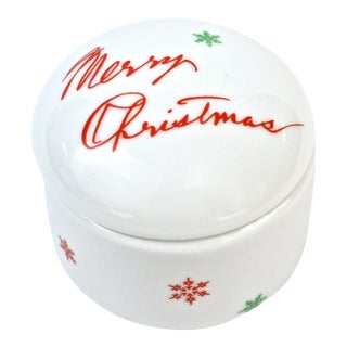 """Merry Christmas"" Porcelain Ring Box For Sale"