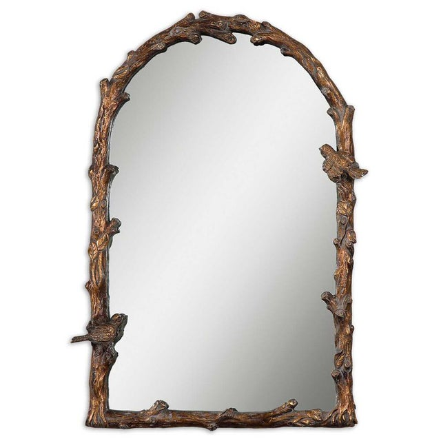 Rustic Faux Bois Bird Motif Wall Mirror For Sale - Image 3 of 3