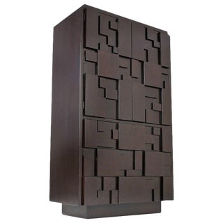 Lacquered Brutalist Tall Cabinet or Chest by Lane Furniture For Sale