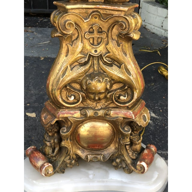 Figurative Huge Antique French Giltwood Figural Cathedral Floor Lamps - a Pair For Sale - Image 3 of 8