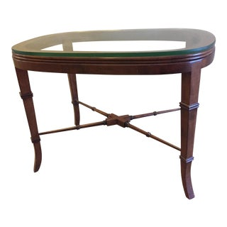 Tradiitonla CTH Sherrill Maple Cocktail Table With Polished Edge Lay-On Glass Top For Sale
