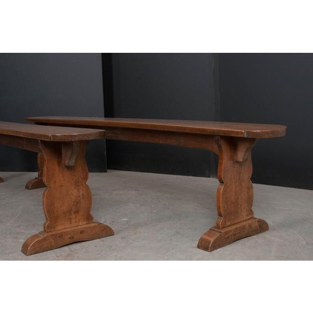 Brown Pair of French 19th Century Provincial Oak Benches For Sale - Image 8 of 13