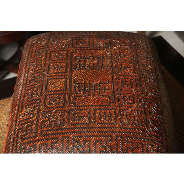 Turn of the Century Chinese Woven Rattan and Bamboo Pillow Basket From Shanghai For Sale - Image 9 of 11