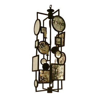 Currey & Co. Modern Gallerist Iron and Antique Mirror Chandelier For Sale