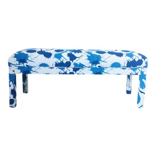 1970s Mid-Century Modern Parsons Blue Spatter Upholstered Bench