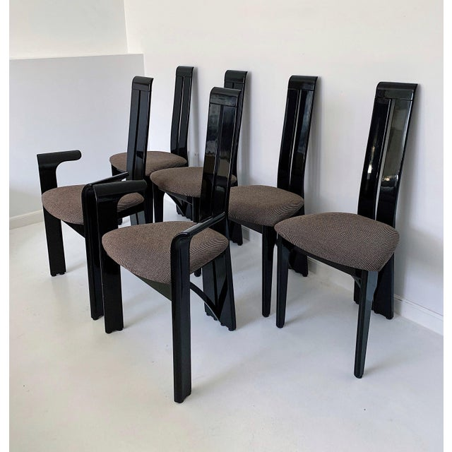 Set of 6 Italian Pietro Costantini High Back Black Lacquer Dining Chairs. Circa 1990's in excellent condition. These...