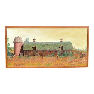 Rustic Naive French Barn Original Oil Painting For Sale