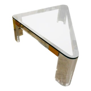 Charles Hollis Jones Lucite and Brass Triangle Coffee or Cocktail Table