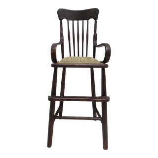 Antique Tiger Oak Child's High Chair