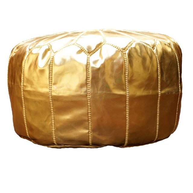 Boho Chic Gold Leather Moroccan Pouf For Sale - Image 3 of 10