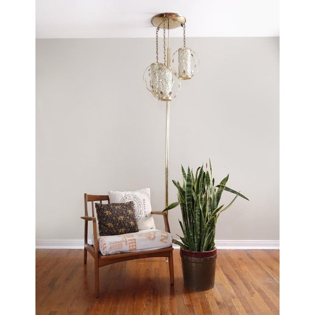 French Vintage Mid-Century Gold Tension Pole Lamp For Sale - Image 3 of 9