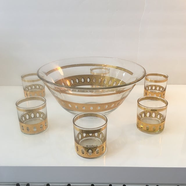 Mid-Century Modern Culver Ltd Glass Ice Bucket/ Punch Bowl With Matching Glasses For Sale - Image 11 of 11