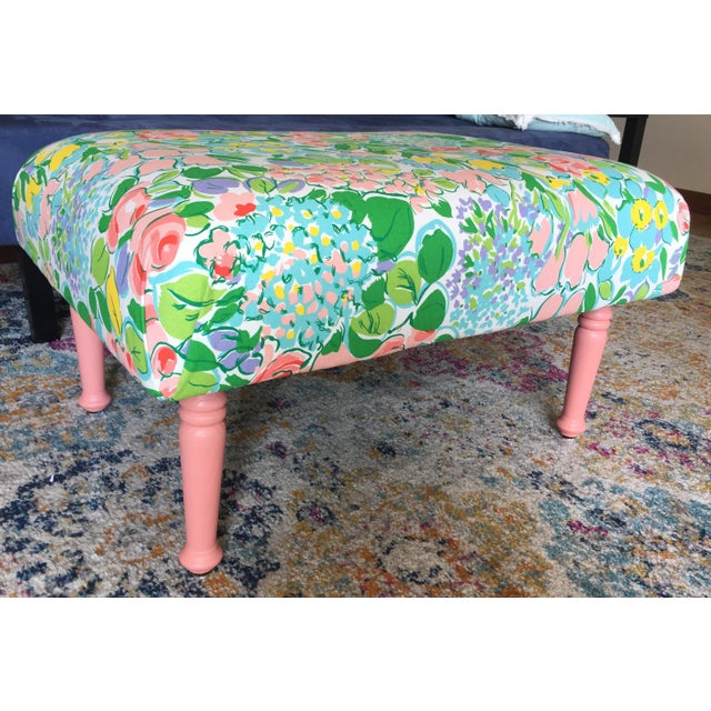 Antique Remixed Floral Ottoman For Sale - Image 6 of 6