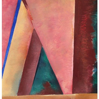 """""""In the Studio #2"""" 20th Century Oil on Paper in Pink and Maroon For Sale"""