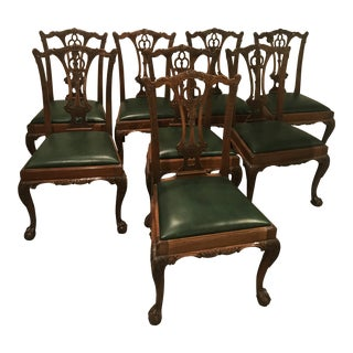 Chippendale Dining Chairs With Green Leather Seats - Set of 8 For Sale