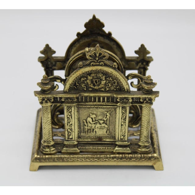 Traditional Renaissance Revival Double Brass Letter Rack With Carrying Handle For Sale - Image 3 of 12