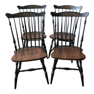 1960s Traditional Hitchcock for Ethan Allen Maple Dining Chairs - Set of 4