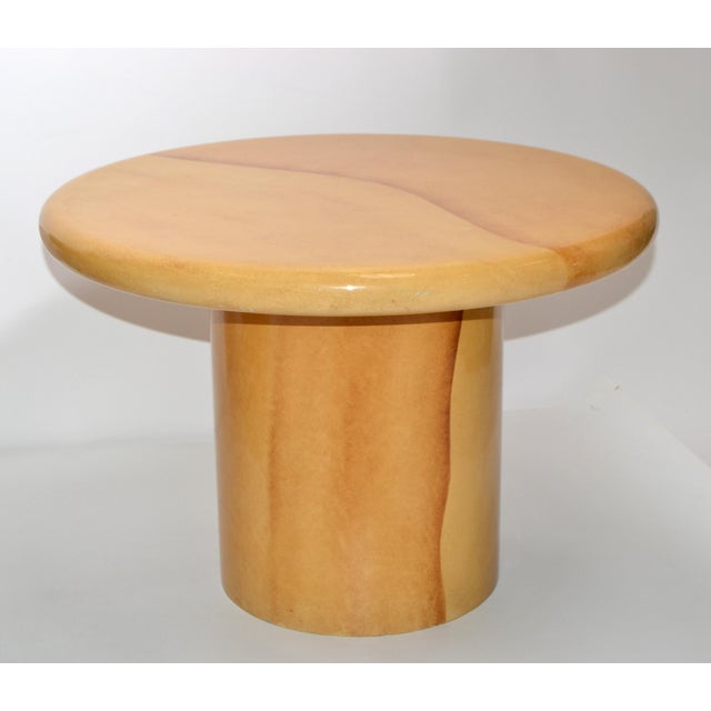 Tan Karl Springer Style Lacquered Goatskin Top Side Tables Mid-Century Modern - Pair For Sale - Image 8 of 13