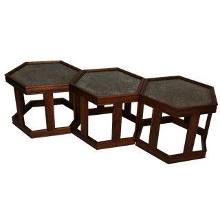 Brown Saltman Vintage Hexagonal Tables - Set of 3 For Sale